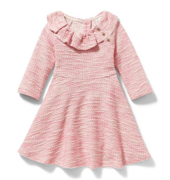 Ruffle Collar Bouclé Dress
