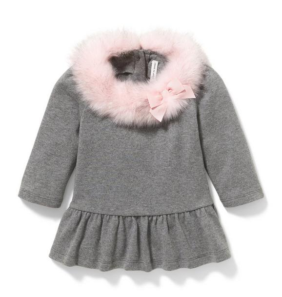 Faux Fur Collar Peplum Top