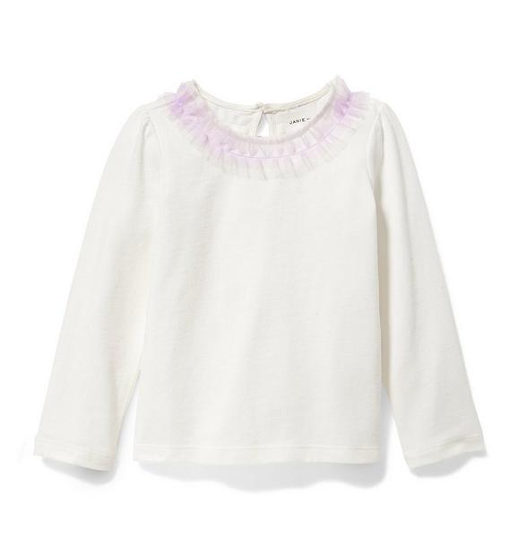 Tulle Ruffle Collar Top