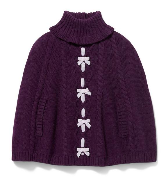 Cable Knit Bow Cape