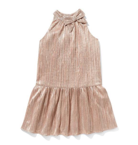 Metallic Pleated Dropwaist Dress