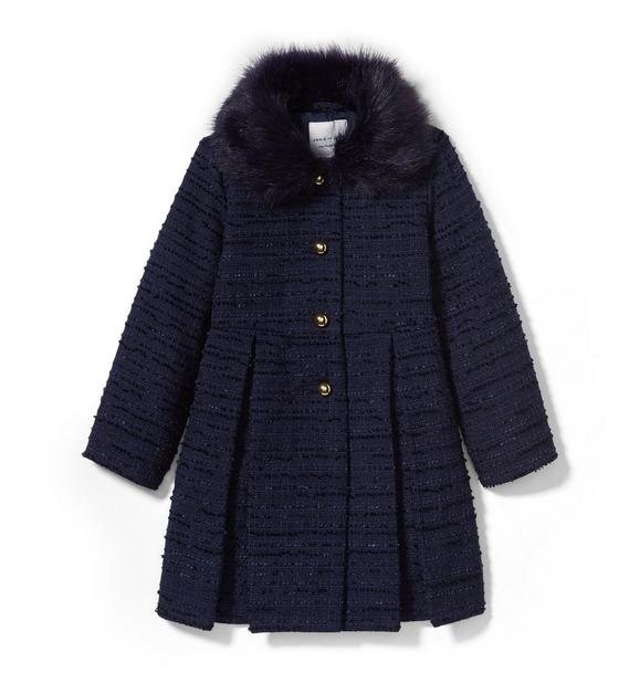 Faux Fur Collar Bouclé Coat