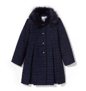 Faux Fur Collar Bouclé Coat