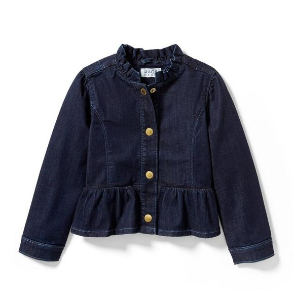 Denim Ruffle Jacket In Starry Skies Wash
