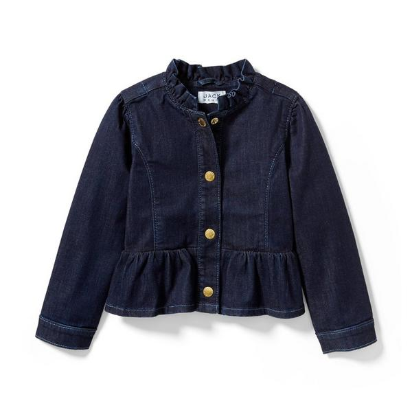 Denim Ruffle Jacket In Starry Skies Wash by Janie And Jack