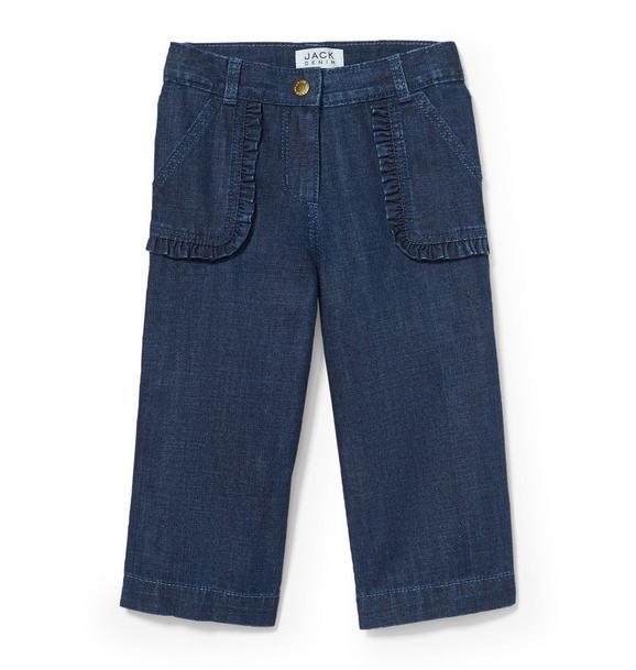 Wide-Leg Ruffle Pocket Jean