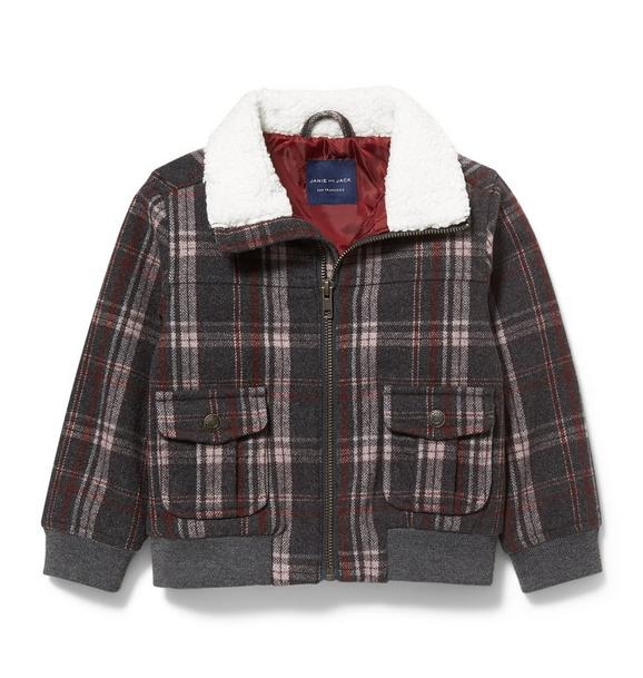 Plaid Sherpa Collar Bomber Jacket
