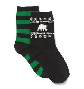 Striped & Polar Bear Sock 2-Pack