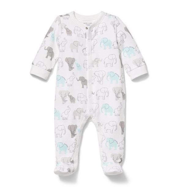 Elephant Print Footed 1-Piece