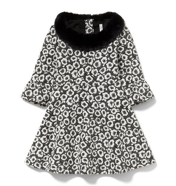 Floral Faux Fur Collar Dress