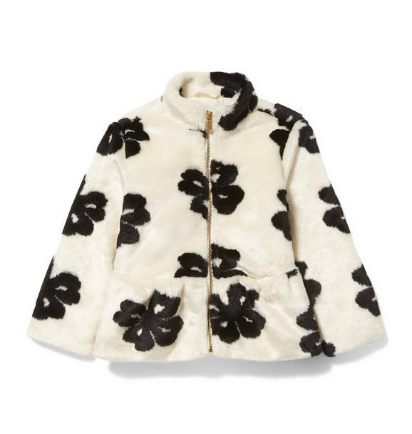 Faux Fur Floral Coat