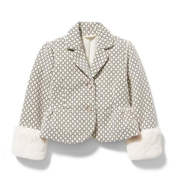 Jack And Janie Fur Cuff Sweater: Girl White Geo Print Geo Faux Fur Cuff Blazer By Janie And