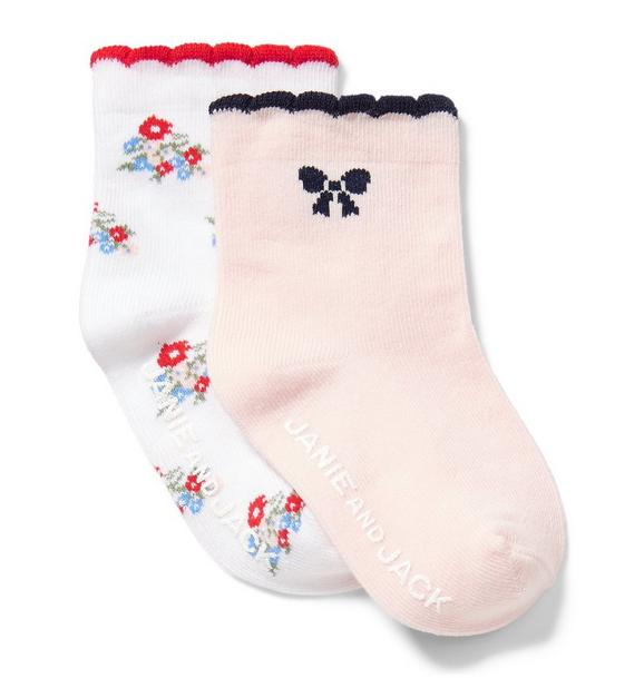 Floral And Bow Sock 2-Pack