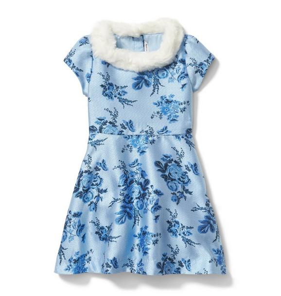 Floral Jacquard Faux Fur Collar Dress