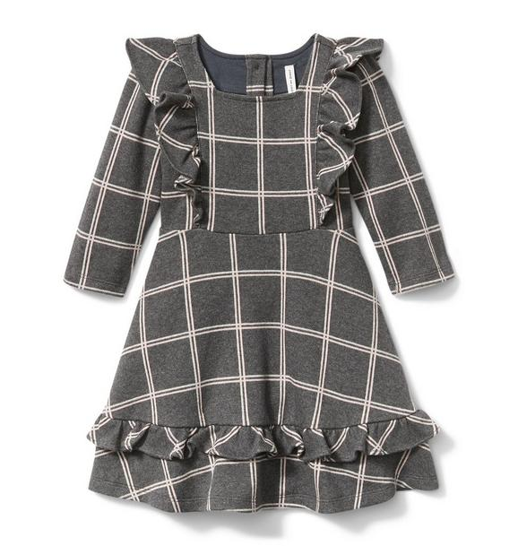 Plaid Ruffle Jacquard Dress