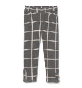 Plaid Button-Cuff Jacquard Pant