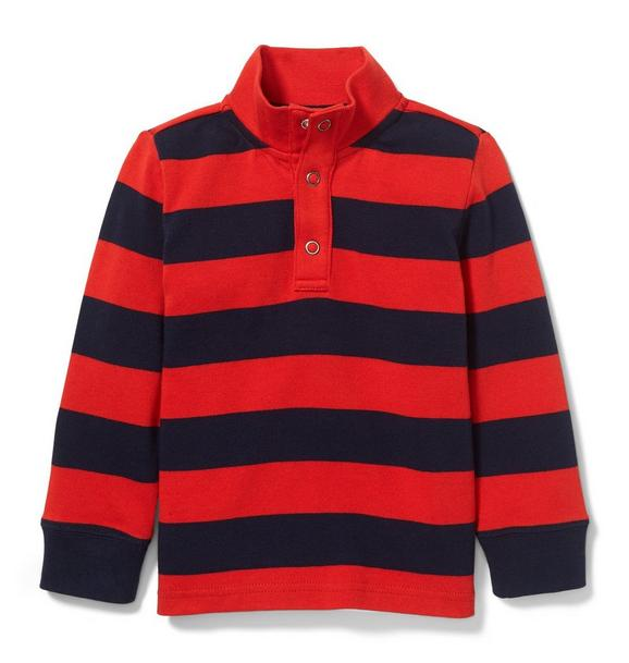 Half Snap Striped Rugby Tee