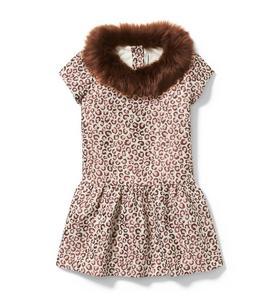 Leopard Faux Fur Collar Dress