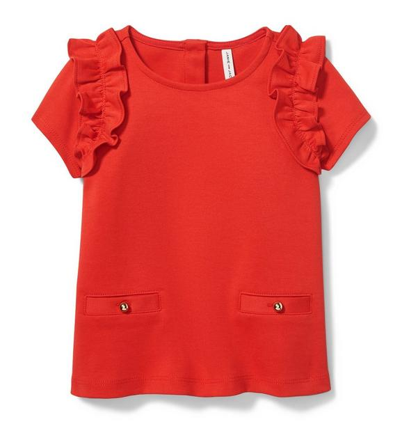 Ruffle Shoulder Ponte Top