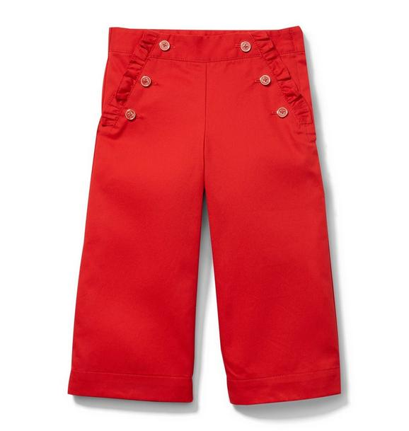 Button Front Ruffle Pants