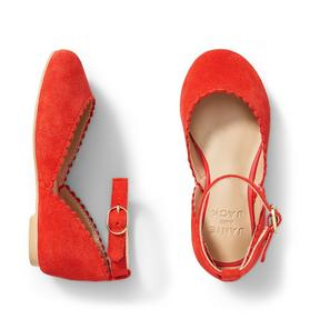 Suede Scalloped Flat