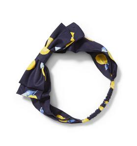 Lemon Print Bow Headband