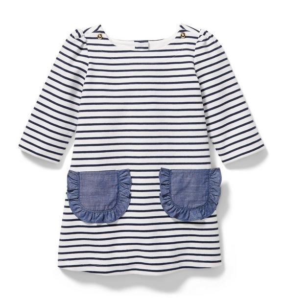 Ruffle Pocket Striped Dress