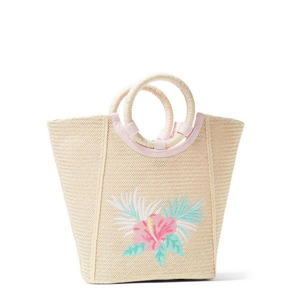 Hibiscus Straw Tote