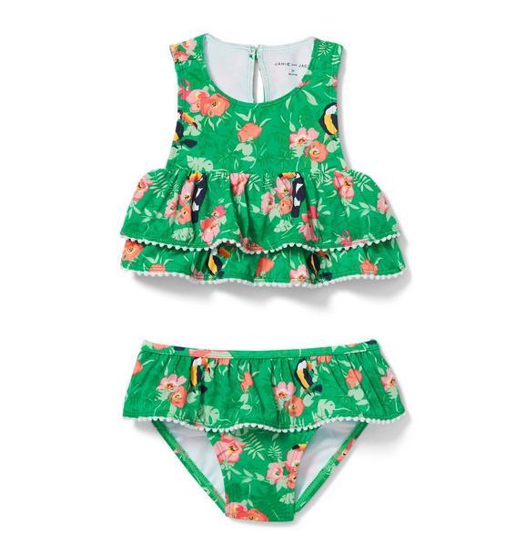 Tropical Ruffle 2-Piece Swimsuit