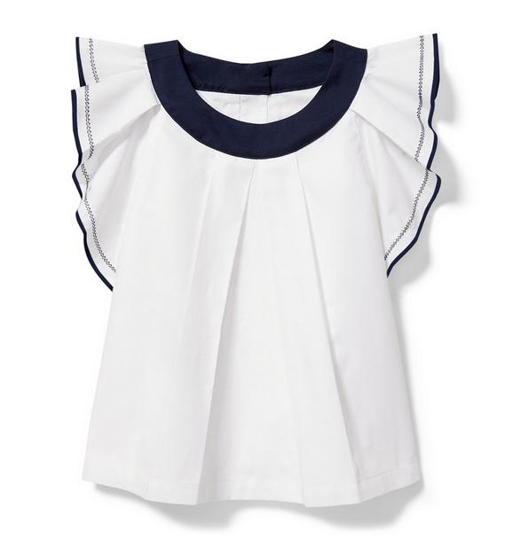 Navy Trim Ruffled Top