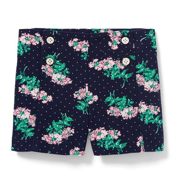 Button Front Floral Short