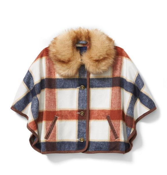 Plaid Fur Collar Cape