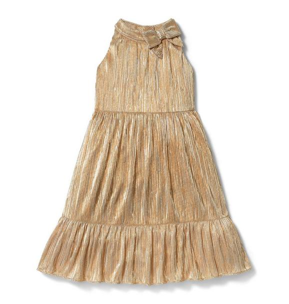 Rachel Zoe Gold Lurex Plisse Maxi Dress