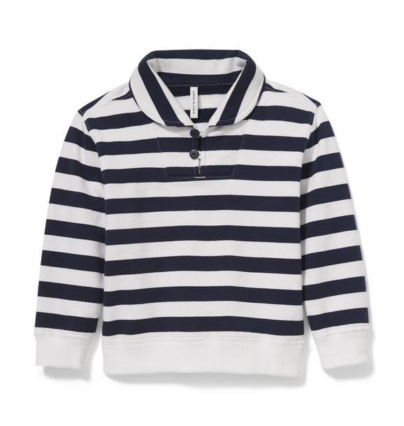 Striped Shawl Collar Pullover