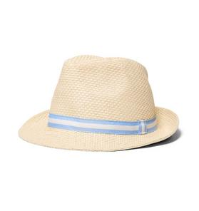 Striped Trim Straw Fedora