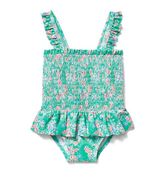 Ditsy Floral Smocked Swimsuit
