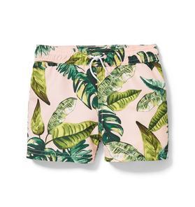 Palm Print Pull On Swim Short