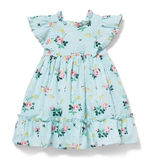 Swiss Dot Floral Print Dress