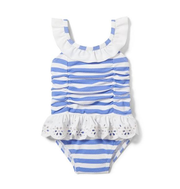 Textured Striped Eyelet Swimsuit