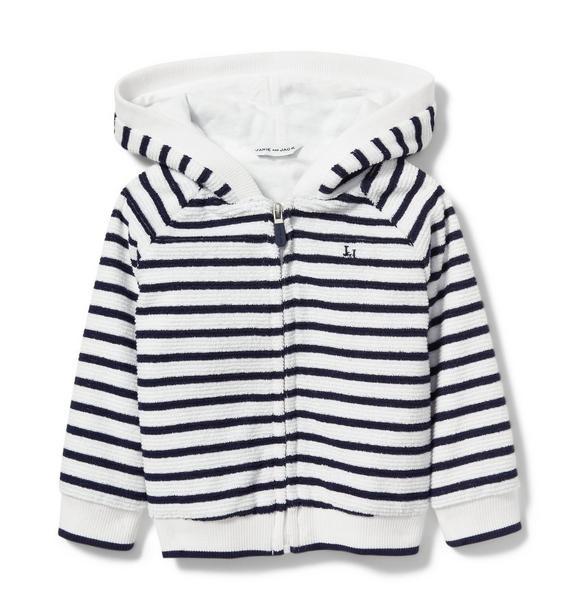 Striped Zip Front Hoodie