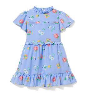 Ruffle Trim Floral Print Dress