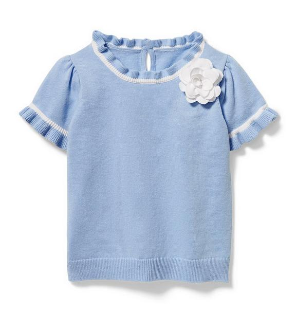 Ruffle Trim Rosette Sweater