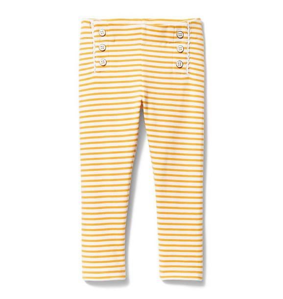 Stripe Button Front Ponte Pant