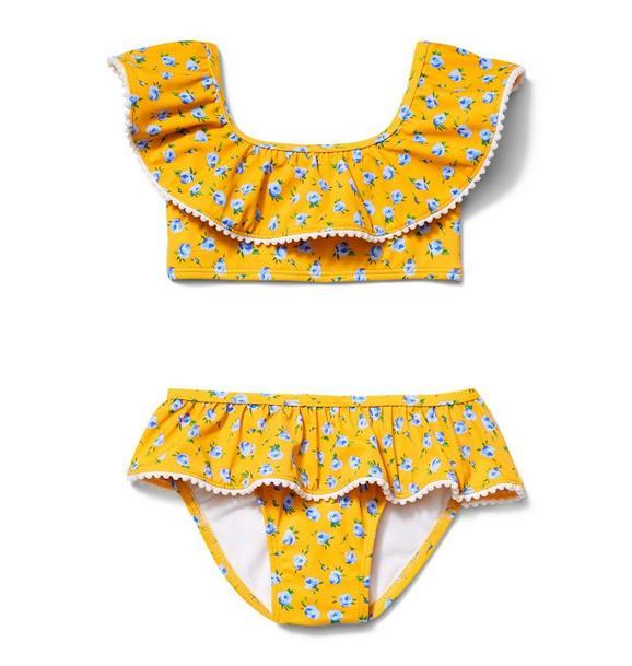 Floral Ruffle 2-Piece Swim Suit
