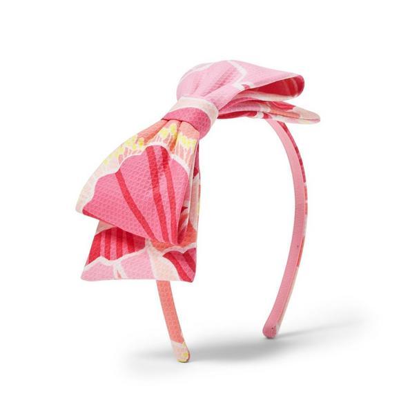 Peony Print Bow Headband