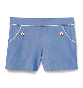 White Trim Chambray Short