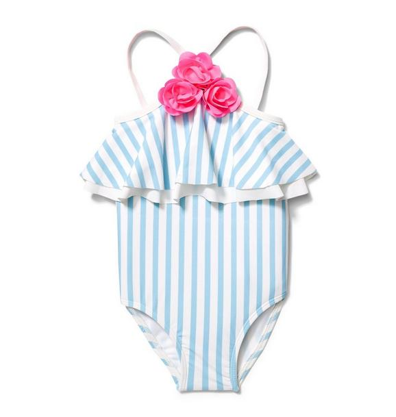 Stripe Triple Rosette Swimsuit