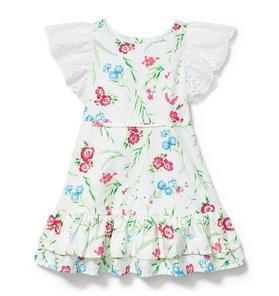 Eyelet Sleeve Floral Dress