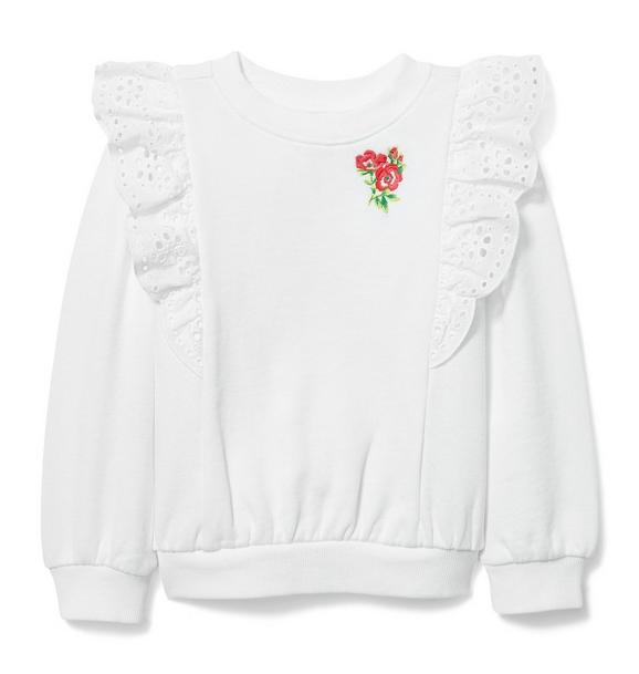 Eyelet Trim Embroidered Sweatshirt