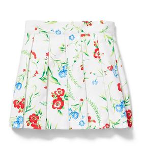 Floral Pique Pleated Skirt
